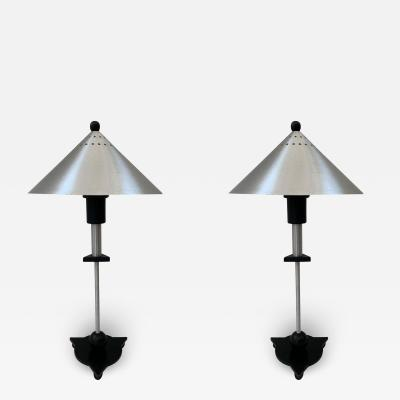 Memphis Group Pair of Postmodern Steel and Black Wood Table Lamps by BE YANG 1980s