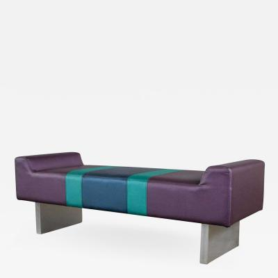 Memphis Group Postmodern bench purple vinyl brushed aluminum bases after the memphis group