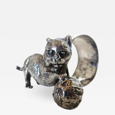 Meriden Silver Plate Co Cat With A Ball of Yarn Silver Plate Victorian Napkin Ring American Ca 1885