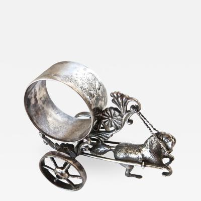 Meriden Silver Plate Co Horse Drawn Silver Plated Figural Napkin Ring on Wheels American circa 1885