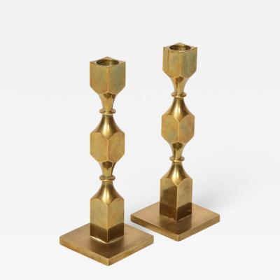 Metallslojden Gusum Pair of Swedish Brass Candlesticks