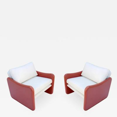 Metropolitan Furniture Pair of Coral and White Lounge Chairs by Metropolitan