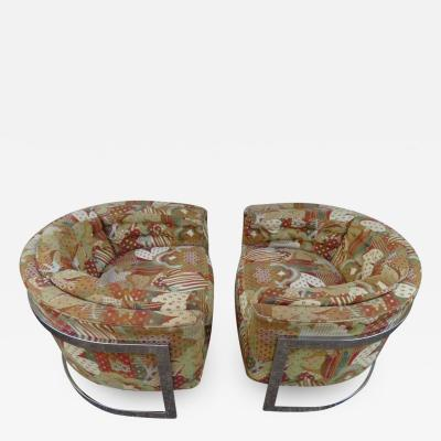 Metropolitan Furniture Pair of Metropolitan Barrel Back Lounge Chairs Mid Century Modern