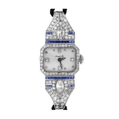 Meylan Ladys Platinum Diamond and Sapphire Art Deco Wristwatch