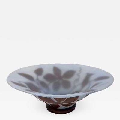 Michna 1970s Austrian Vintage Art Nouveau Style Aqua Blue Glass Bowl with Brown Flowers