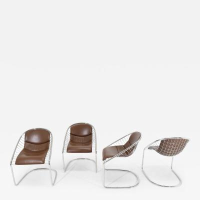 Minotti Minotti Chairs in Brown Leather by Gordon Guillaumier Cortina