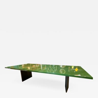 Minotti Minotti Mid Century Light Green Rectangular Dining Table Italy 1980s