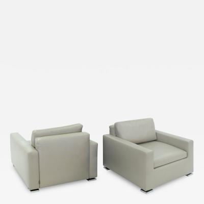 Minotti Pair of Clean Line Club Chairs by Minotti