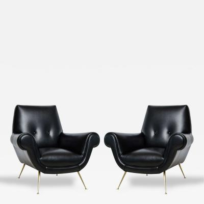 Minotti Pair of Italian Modern Leather and Brass Lounge Chairs Minotti