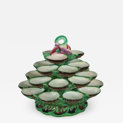 Minton Minton Majolica Four Tiered Oyster Stand
