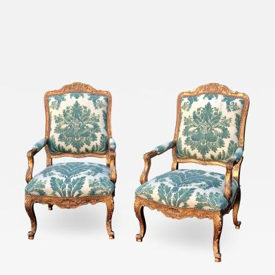 Minton Minton Spidell Mariano Fortuny Louis XVI Bergere Chairs a Pair