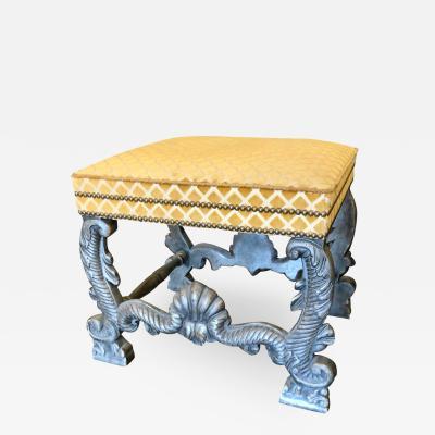 Minton Spidell Minton Spidell Carved Italian Giltwood Silk Velvet Upholstered Bench