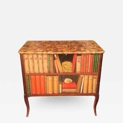 Minton Spidell Minton Spidell Trompe lOeil Faux Bookcase Two Door Side Table Cabinet