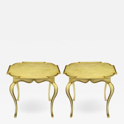 Minton Spidell Pair of Minton Spidell Parcel Gilt and Glazed Ivory Cabriole Leg End Tables