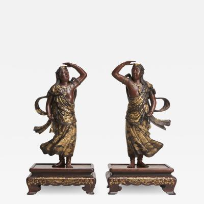 Miyao An elegant pair of Japanese Bronze figures of Deities signed Miyao