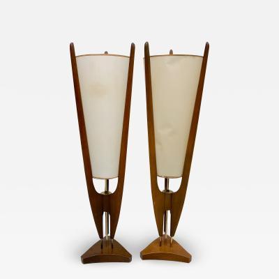 Modeline MODELINE Teak Wood Floor Lamps Sculpted Design Adrian Pearsall 1960s