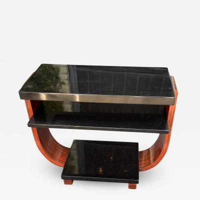 Modernage Furniture Company Vintage Art Deco Macassar Black Lacquer Side Table by Modernage Furniture Co