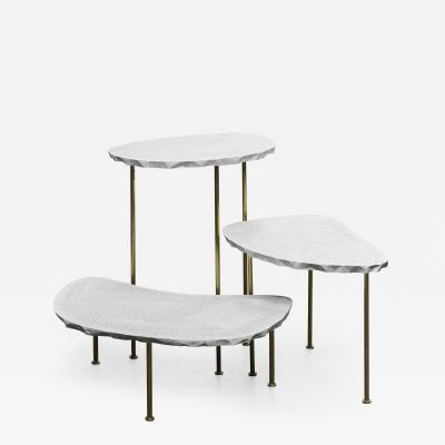 Morghen Studio Modern Fossils Brass and Resin Tables Ensemble