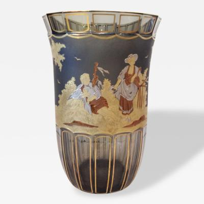 Moser Moser Large Panel and Engraved Gilt Silver Vase Signed Otto