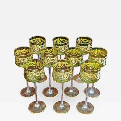 Moser Set of 10 Moser Glass Green and Gold Tall Wine Goblets