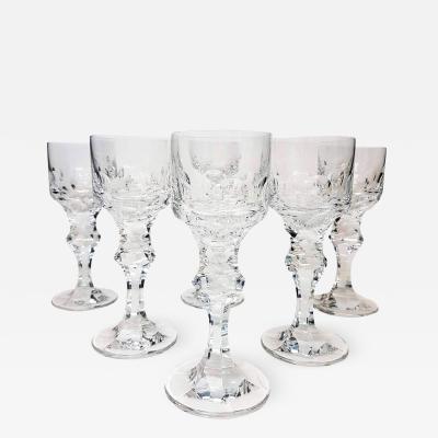 Moser Set of Six Large High End Crystal Goblets by Moser Glassworks