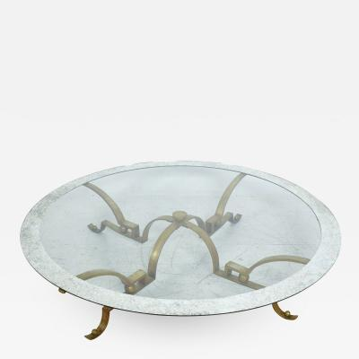 Muller of Mexico ARTURO PANI Exceptional Brass Round COCKTAIL Table w Antique Mosaic Glass 1950s