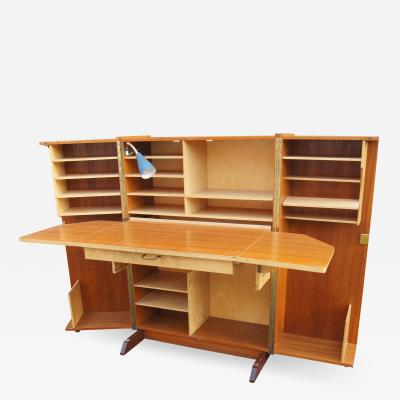 Mummenthaler Meier Teak Folding Box Desk with Lamp by Mummenthaler Meier
