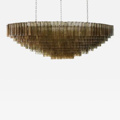 Murano AN OUTSTANDING LARGE MURANO PIASTRE GLASS CHANDELIER