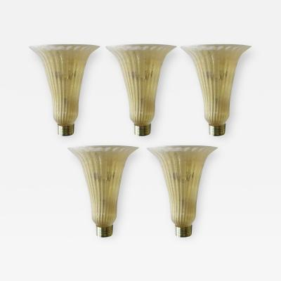 Murano Five Limited Edition Italian Sconces w Clear Murano Glass 1980s