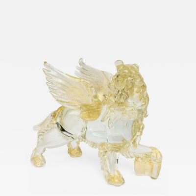 Murano Glass Sommerso Italian Modern Clear and Amber Glass Winged Recumbent Lion Murano