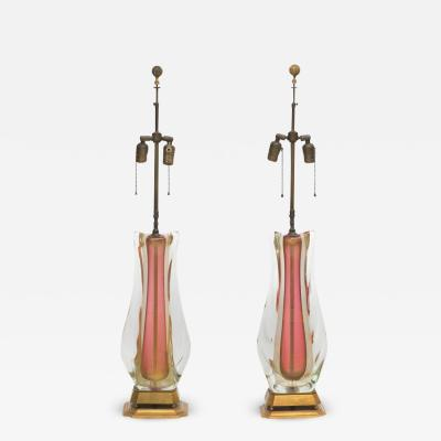Murano Glass Sommerso Large pair of vintage Italian Murano Sommerso Glass lamps