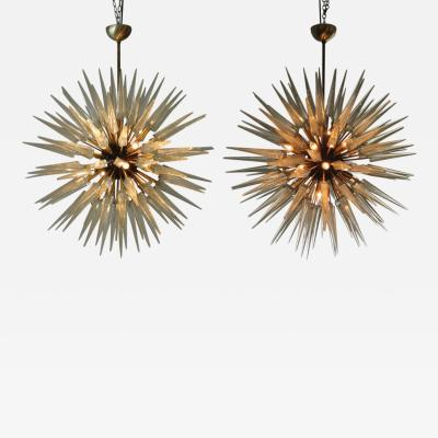Murano Glass Sommerso Monumental Pair Italian Modern Brass Enameled and Hand Blown Glass Chandeliers