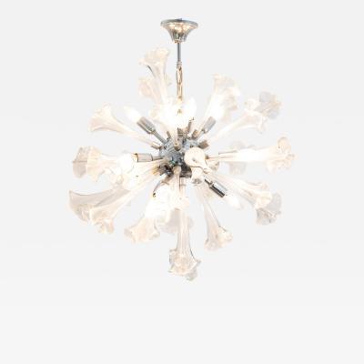 Murano Glass Sommerso Murano Flower Starburst Hanging Light