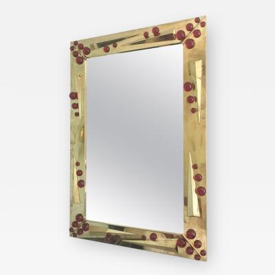 Murano Italian Deco Mirror on Polished Brass w Ruby Red Murano Glass 1980s