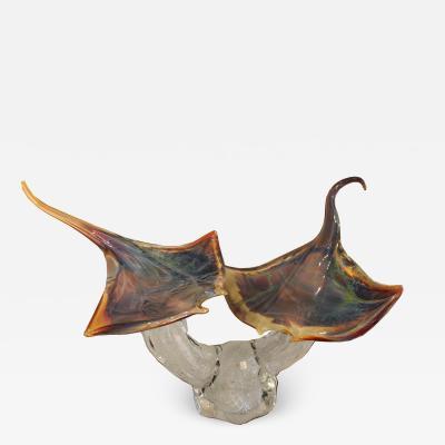 Murano Large Murano Glass Stingrays Sculpture by Zanetti