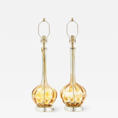 Murano Luxury Glass MGL Pair Clear Honey Amber Murano Lamps