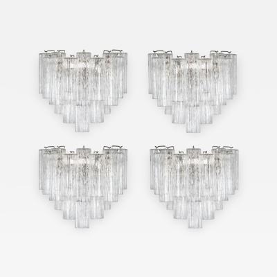 Murano Luxury Glass MGL Two Pairs of Large Murano Tronchi Sconces Circa 1970s
