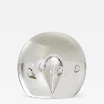 Murano Murano Modern Transparent Paperweight Blown Art Glass Controlled Bubble Design