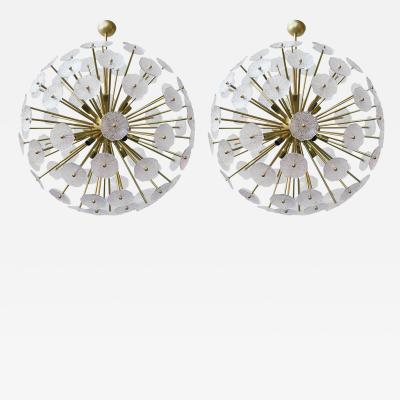 Murano Pair of Italian Sputnik Chandelier w Clear Murano Glass 1960s