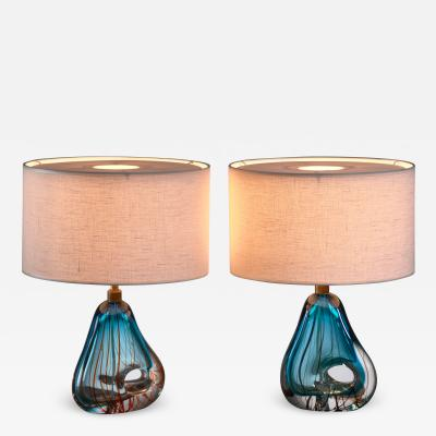 Murano Pair of blue Murano glass table lamps