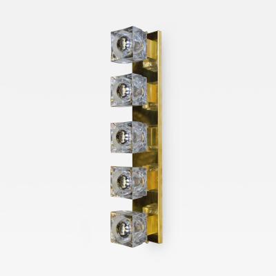 Murano Set of Three Italian Sconces w Sciolari Clear Murano Glass Cubes 1960s