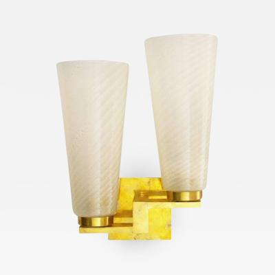 Murano Six Limited Edition Sconces w Frosted Gold Infused Murano Glass Italy 1990s