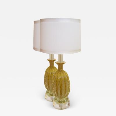 Murano Vintage Pair of Gold Murano Lamps