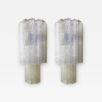 Murano Vintage Pair of Italian Sconces w Clear Rectangular Murano Glass Cubes 1960s