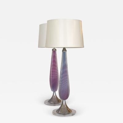 Murano Vintage Pair of Purple Pink Opalescent Murano Lamps