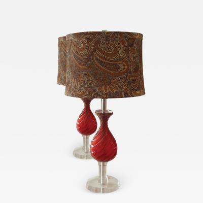 Murano Vintage Pair of Red Murano Lamps
