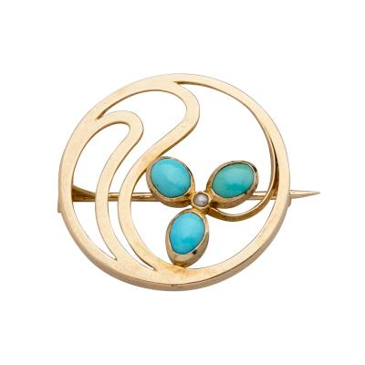 Murrle Bennett Co MURRLE BENNET CO GOLD BROOCH TURQUOISE SEED PEARL