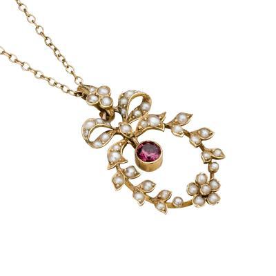 Murrle Bennett Co Murrle Bennett Gold Seed Pearl Garnet Necklace