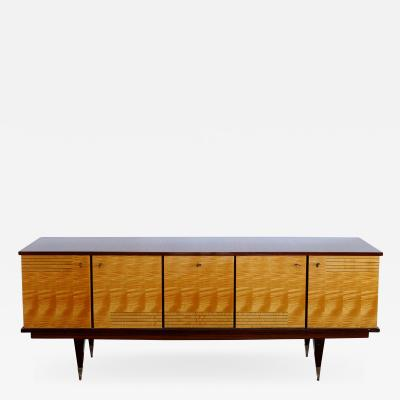 N F Ameublement Ameublement NF Mahogany and Satinwood Credenza with Brass Hardware from France