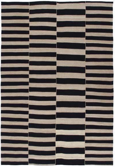 NASIRI Mid Century Modern Style Persian Stripe Flatweave Rug